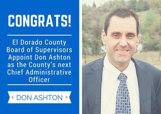 Don Ashton named CAO of El Dorado County | Village Life